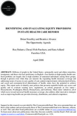 IDENTIFYING AND EVALUATING EQUITY PROVISIONS IN STATE HEALTH CARE REFORM