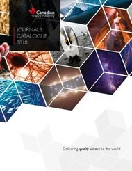 JOURNALS CATALOGUE 2018 Delivering quality science to the world