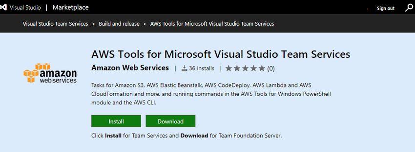 AWS Tools for Microsoft Visual Studio Team Services